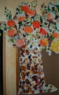 יצירה לילדים - עץ תפוזים מגזרי עיתונים