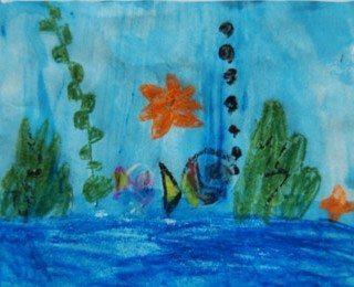 ציור עם צבעי שעווה ומים