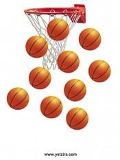 דף מדבקות עם כדורסל לצורך שיפור התנהגות